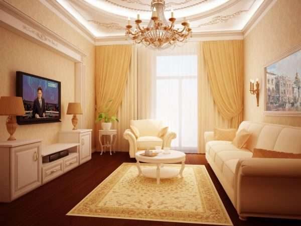 песочный цвет в интерьере гостиной 17 кв.м. в классическом стиле