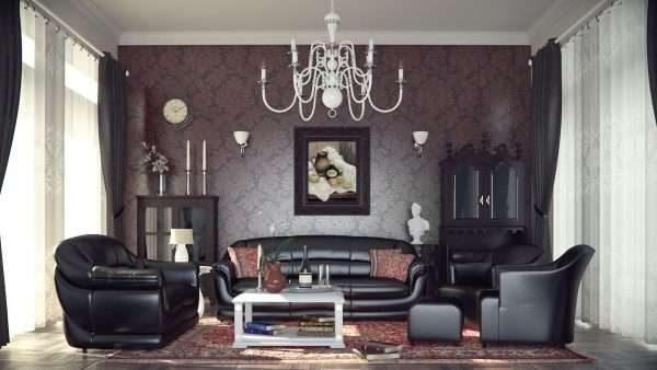 тёмная мебель в гостиной 17 кв.м. в классическом стиле