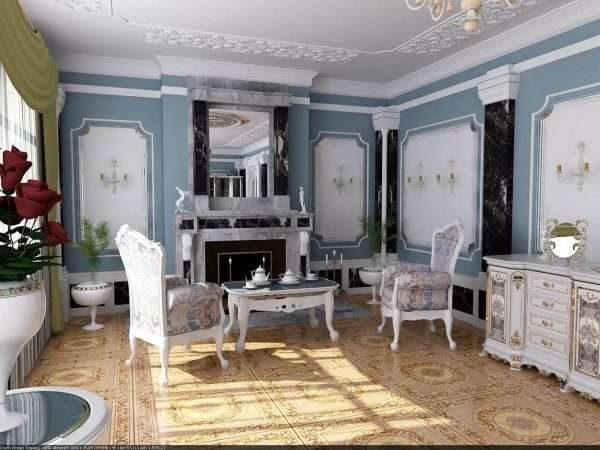 голубой фон в интерьере гостиной 17 кв.м. в классическом стиле