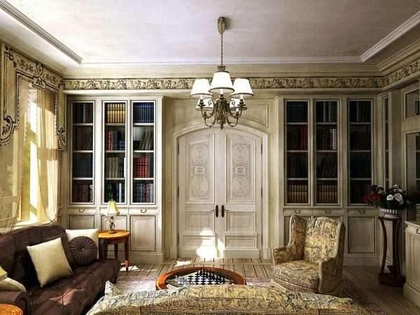 книжные шкафы в интерьере гостиной 17 кв.м. в классическом стиле
