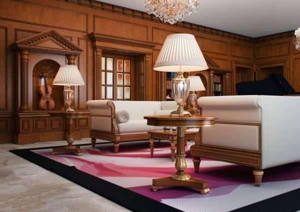мебель из дерева в гостиной 17 кв.м. в классическом стиле