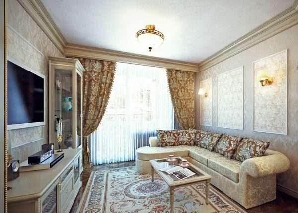 окнов гостиной в классическом стиле