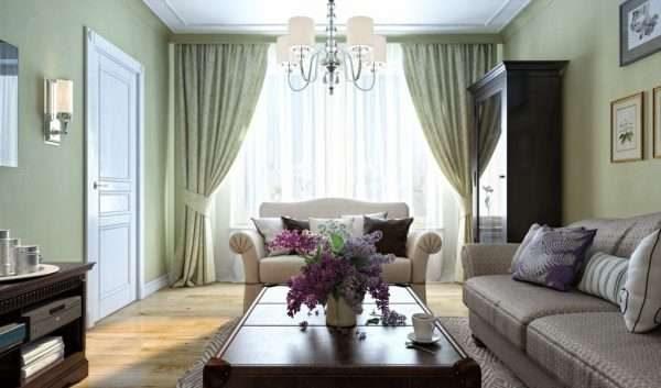 светлый интерьер гостиной 17 кв.м. в классическом стиле