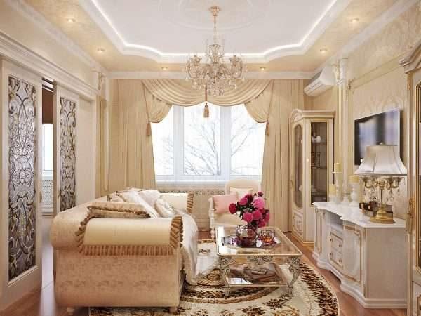 дизайн гостиной 17 кв. м классика