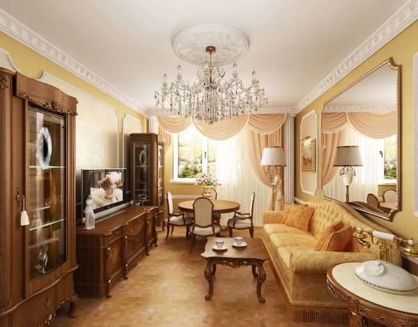 линолеум в гостиной 17 кв. м в классическом стиле