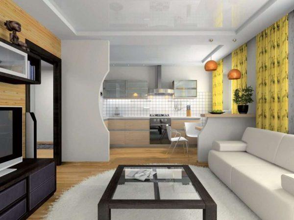 зонирование перегородкой на кухне гостиной 13 кв.м