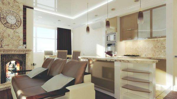 барная стойка в качестве зонирование кухни гостиной 13 кв.м
