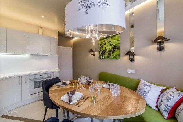 современный дизайн кухни гостиной 13 кв.м
