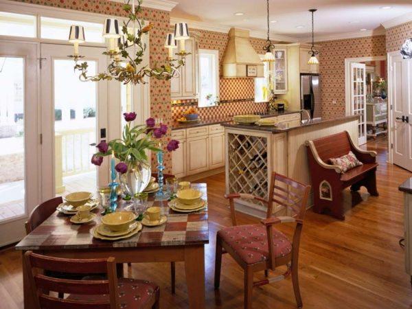 дизайн кухни гостиной 13 кв.м в стиле кантри