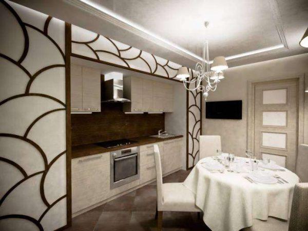 обеденный стол в интерьере кухни гостиной 13 кв. м