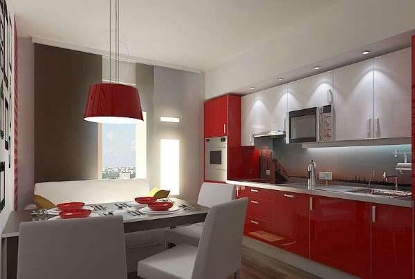 интерьер кухни гостиной 13 кв. м с красным гарнитуром
