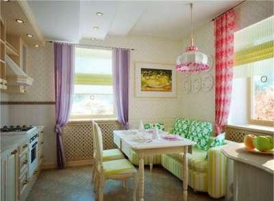 яркий интерьер кухни гостиной 13 кв. м