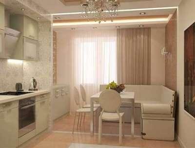 бежевый интерьер кухни гостиной 13 кв. м