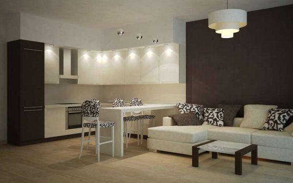 дизайн кухни гостиной 13 кв.м с встроенным освещением
