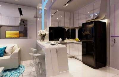 синий цвет в интерьере кухни гостиной 13 кв.м