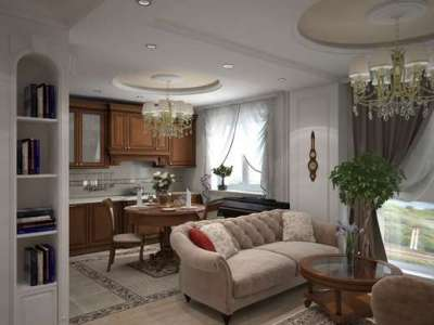 Дизайн кухни-гостиной 14 кв м в классическом стиле