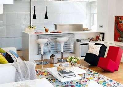 креативная мебель в интерьере кухни гостиной 14 кв. м.