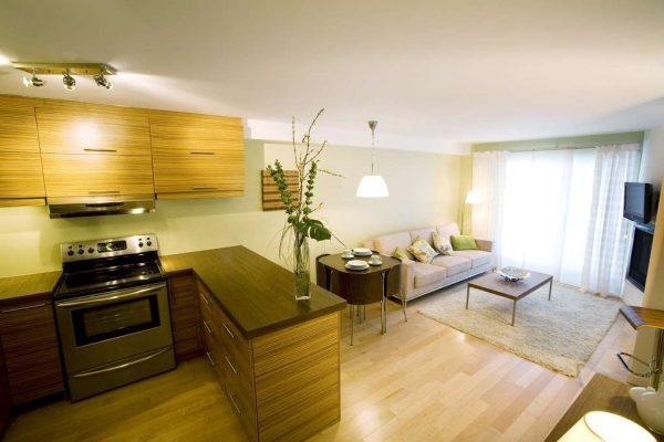 угловая столешница в интерьере кухни гостиной 14 кв. м.
