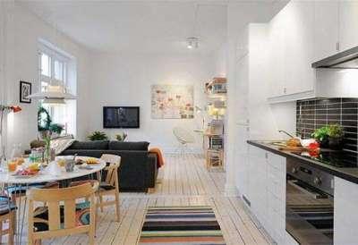 скандинавский стиль в интерьере кухни гостиной 14 кв. м.