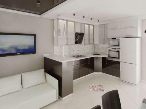 белая мебель в интерьере кухни гостиной 14 кв. м.