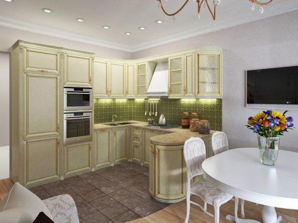 оливковый кухонный гарнитур в интерьере кухни гостиной 14 кв. м.