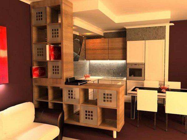 японский стиль на кухне гостиной 14 кв. м