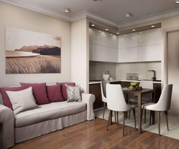 угловой белый гарнитур в интерьере кухни гостиной 14 кв. м.