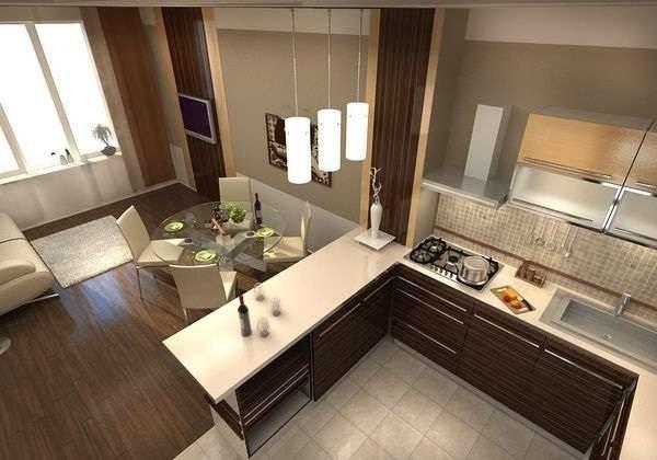 нижние шкафы в качестве зонирования на кухне гостиной