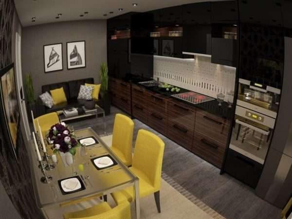 сочетание жёлтого и чёрного в интерьере кухни гостиной 14 кв. м.