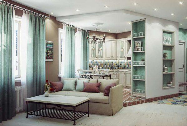 Гостиная совмещенная с кухней с функциональной расстановкой мебели
