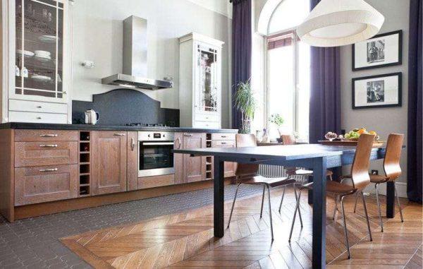 пол в интерьере кухни гостиной 17 кв. метров