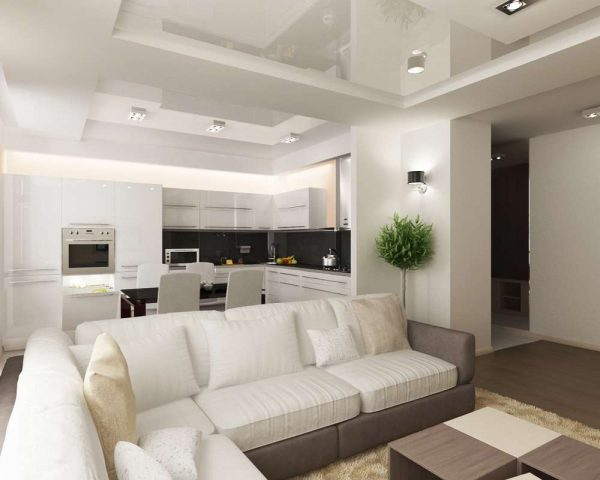 потолок для зонирования кухни гостиной