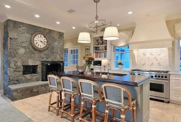 Дизайн кухни гостиной 17 кв м с островом