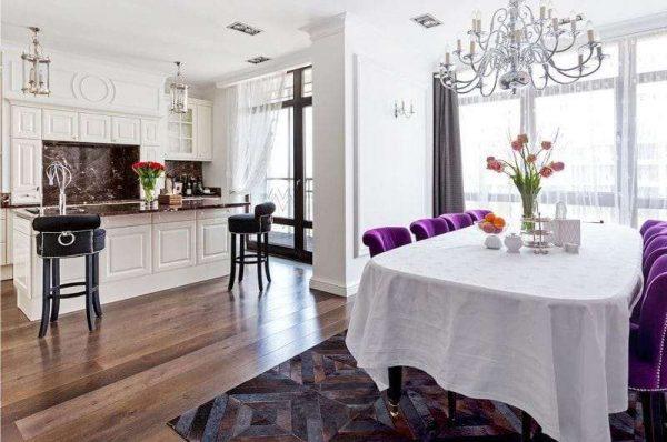 Дизайн кухни гостиной 17 кв м с обеденной группой