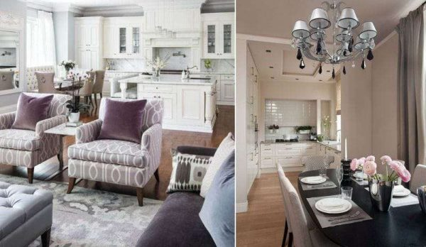 Кухня со столовой и гостиной в едином пространстве