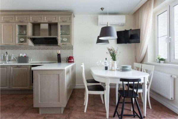 пастельные цвета в интерьере кухни гостиной 17 кв. м