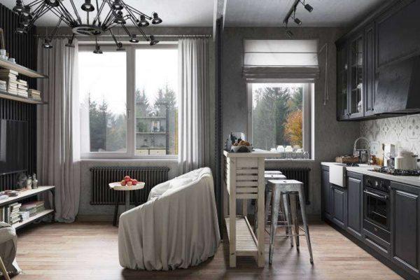 высокий столик для зонирования и приёма пиши в интерьере кухни гостиной 17 кв. м
