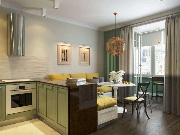 угловая мебель в интерьере кухни гостиной 17 кв. м