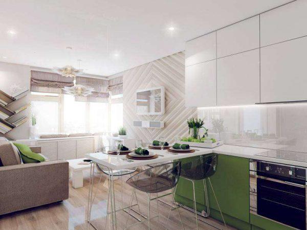 кухонный гарнитур без ручек в интерьере кухни гостиной 17 кв. метров