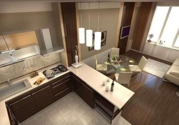 угловая торцевая стенка в качестве стола и зонирования в интерьере кухни гостиной 17 кв. м