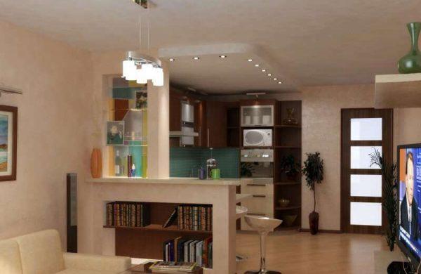 зонирование гостиной совмещенной с кухней