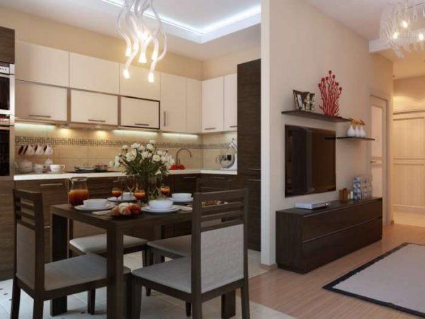 дизайн гостиной совмещённой с кухней с обеденным столом