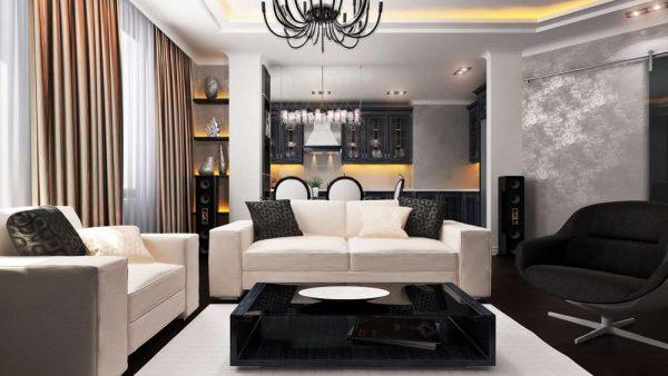 белая мебель в гостиной совмещённой с кухней