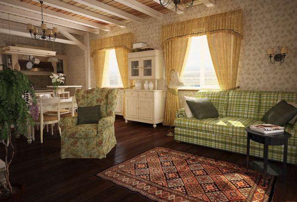 дизайн гостиной совмещённой с кухней в деревенском стиле