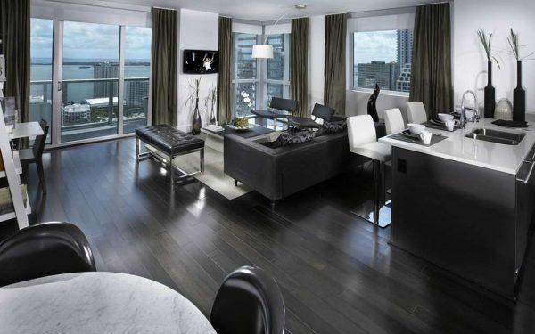 серый дизайн гостиной совмещённой с кухней
