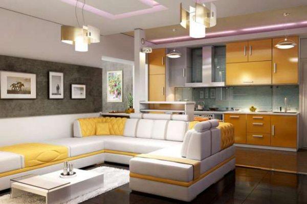 дизайн жёлтой гостиной совмещённой с кухней