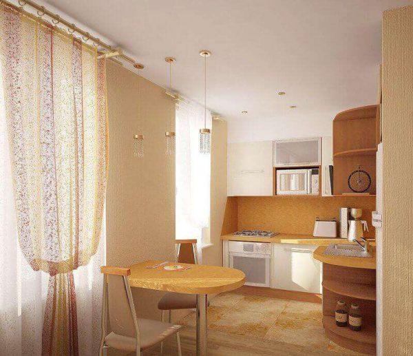 откидной стол в гостиной совмещённой с кухней