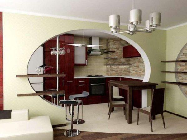 круглая перегородка в интерьере кухни гостиной