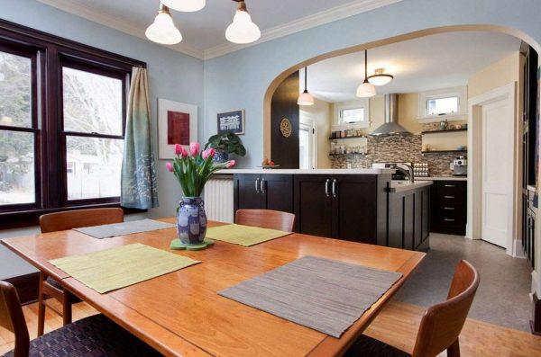 арка в интерьере кухни гостиной