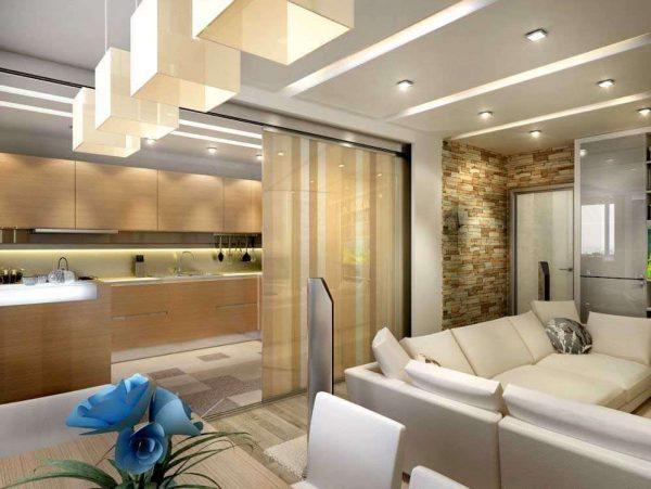 зонирование с помощью раздвижных дверей в интерьере кухни гостиной